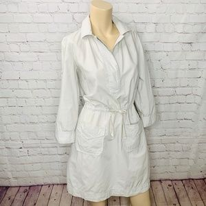 J. CREW Beige Drawstring 3/4 Sleeve Dress Pockets
